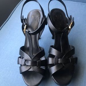 Saint Laurent Tribute Sandal 37.5 Black Leather